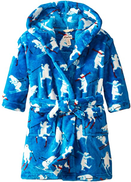 Hatley Fuzzy Fleece Robe-Skiing Polar Bears, Bata para Niños, Azul 7 años