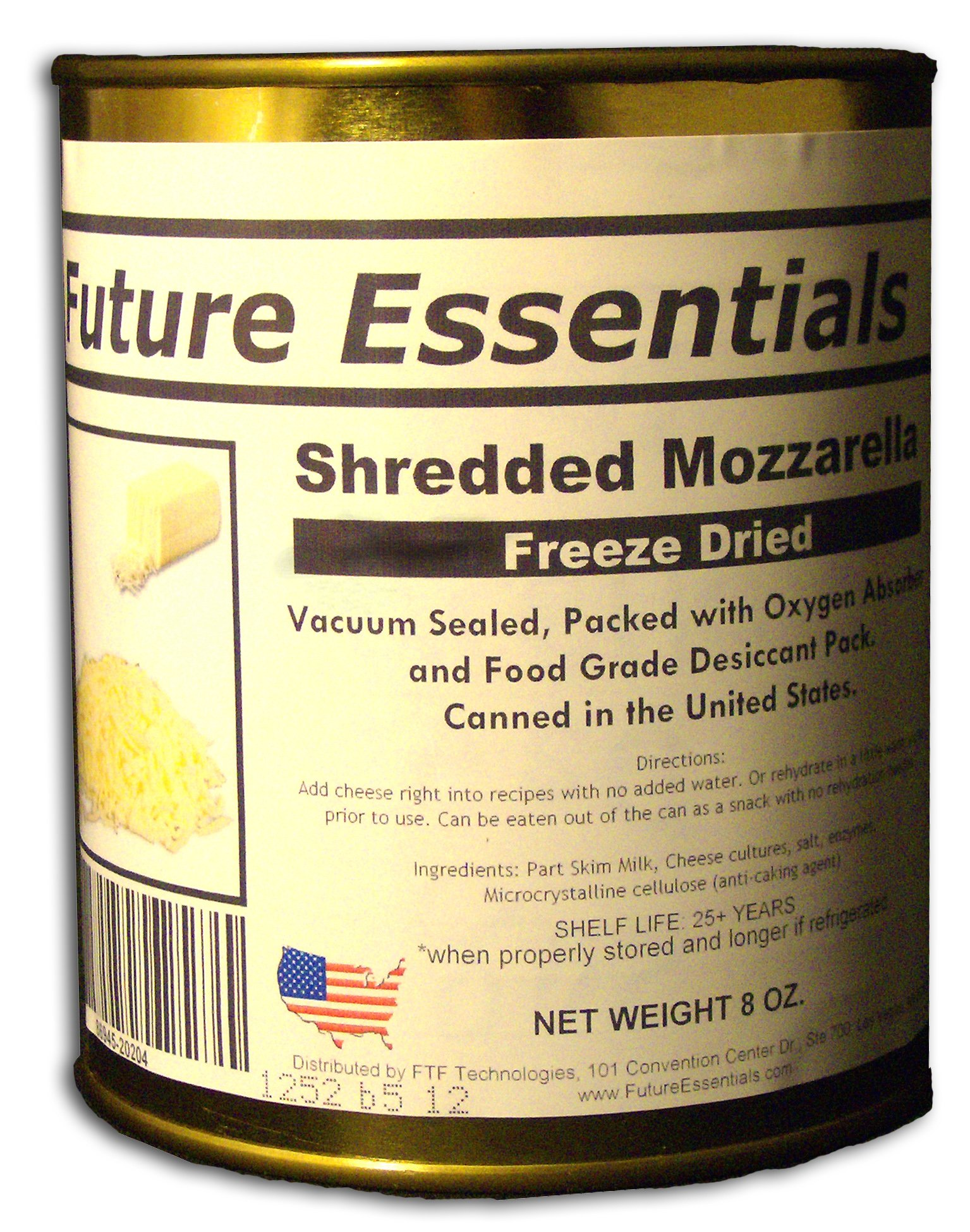 12 Cans of Freeze Dried REAL Mozzarella Shredded Cheese Survival Food- 6Lbs of cheese by Future Essentials