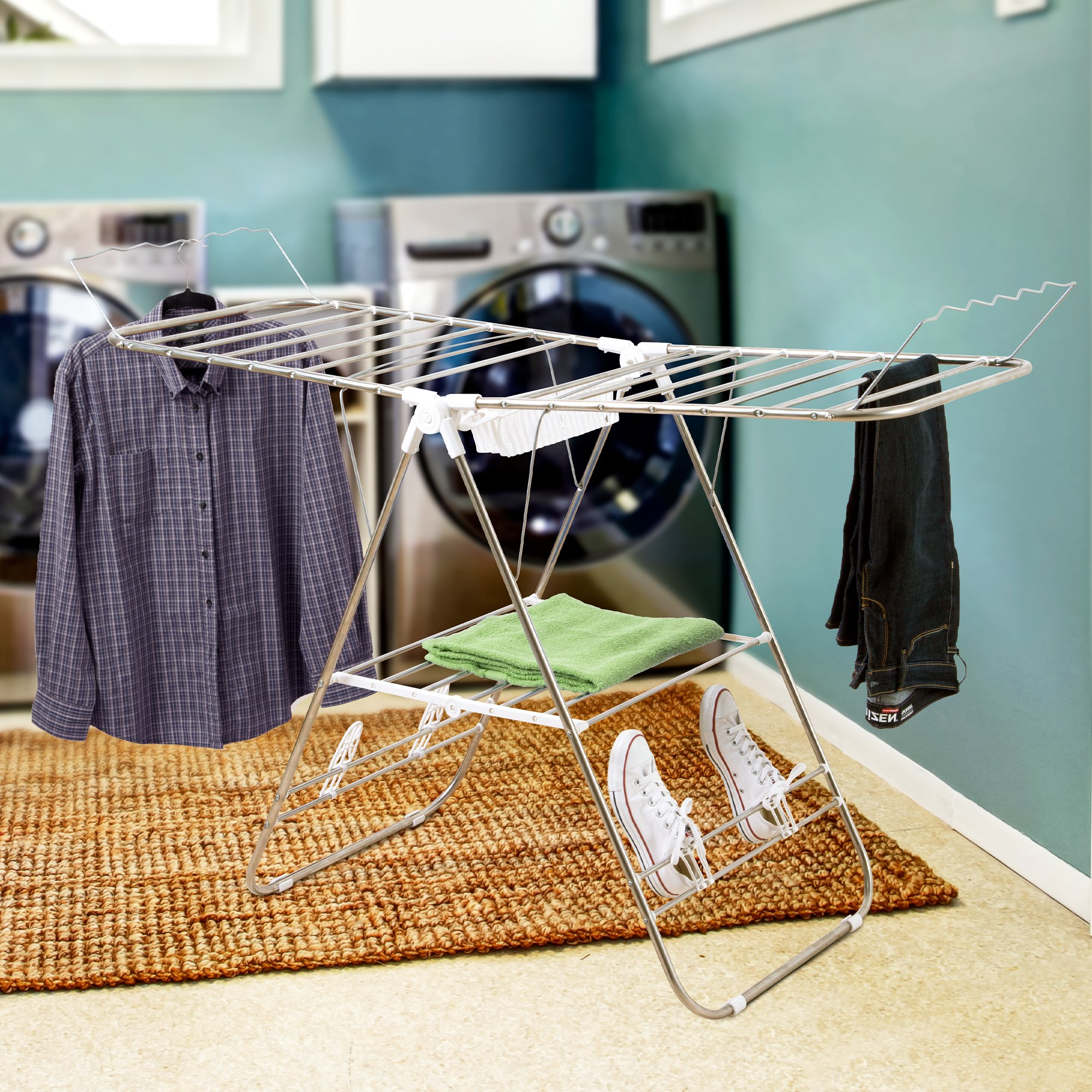 Everyday Home Heavy Duty Laundry Drying Rack- Chrome Steel Clothing Shelf for Indoor and Outdoor Use Best Used for Shirts Pants Towels Shoes