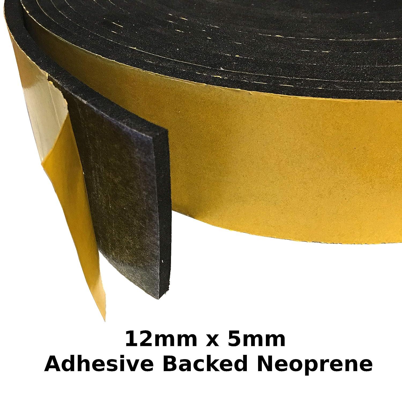 19mm x 10mm Various Size Neoprene Sponge Rubber Self Adhesive Strip 10 Metre Coil