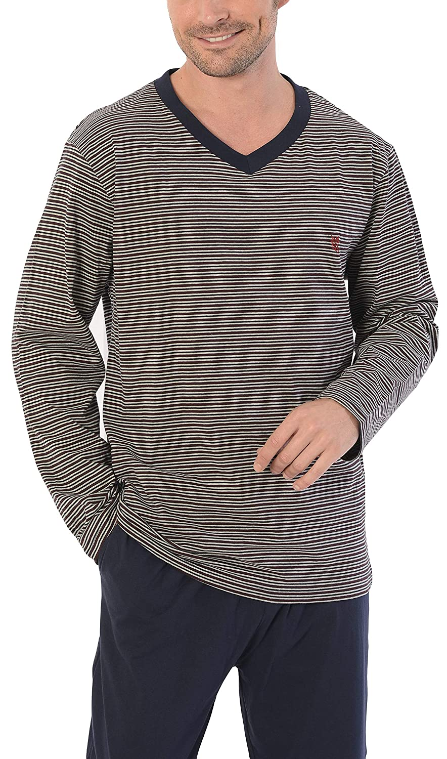 100/% Cotton Long Sleeve Top with Wide V-Neck Collar El B/úho Nocturno Striped Knit for Mid-Season Sleepwear//Homewear for Gentlemen Mens Pyjamas Set