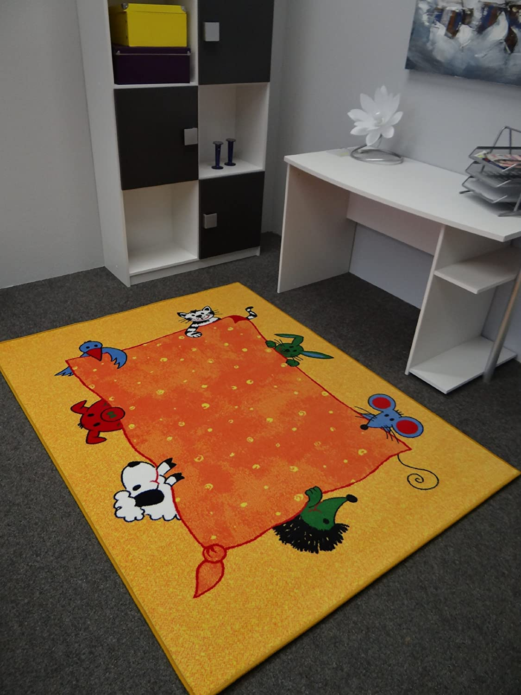 Kinderteppich blumenwiese  Kinderteppich Tiere gelb 140 x 200 cm: Amazon.de: Küche & Haushalt