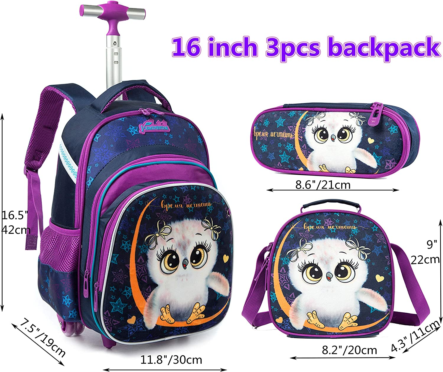 Girls Boys Rolling Backpacks Kids Backpack with Wheels for School Bags Luggage