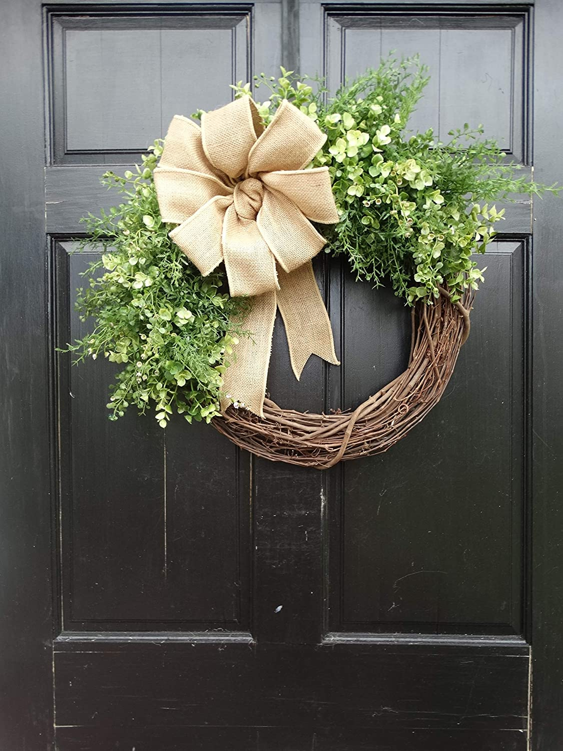 Artificial Mixed Greenery Grapevine Wreath for Year Round Spring Summer Front Door Decor