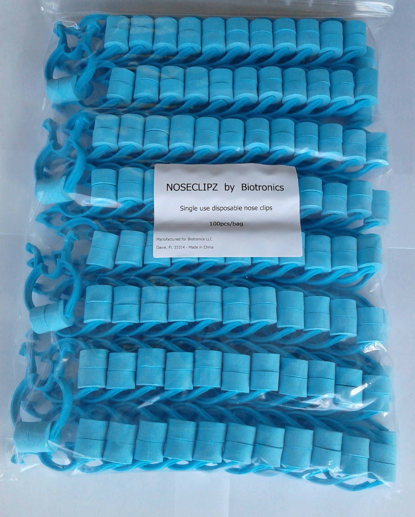 Noseclips - Foam Padded - BiotronicsBiz Noseclipz - Bag of 100 (Blue/Green) Nose Clips by Biotronics by Noseclipz (Image #2)