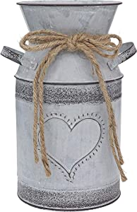 """Fovasen Shabby Chic Vintage Vase Rustic Farmhouse Vase Pitcher Jug Vase for Flowers,Galvanized Milk Can with Love-Shaped Designed for Garden Wedding Home Office Valentines Christmas Decorations -7.5"""""""
