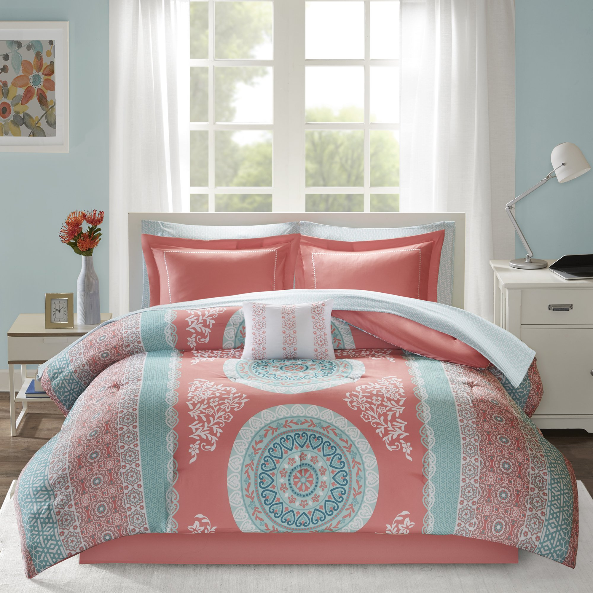 9-Piece Large Medallion Floral Stripes Pattern Comforter Bed In A Beg Set Full Size, Beautiful Bohemian Themed Design, Shabby Chic French Country Style, Vivid Vibrant Colors Blue Coral Pink, Polyester
