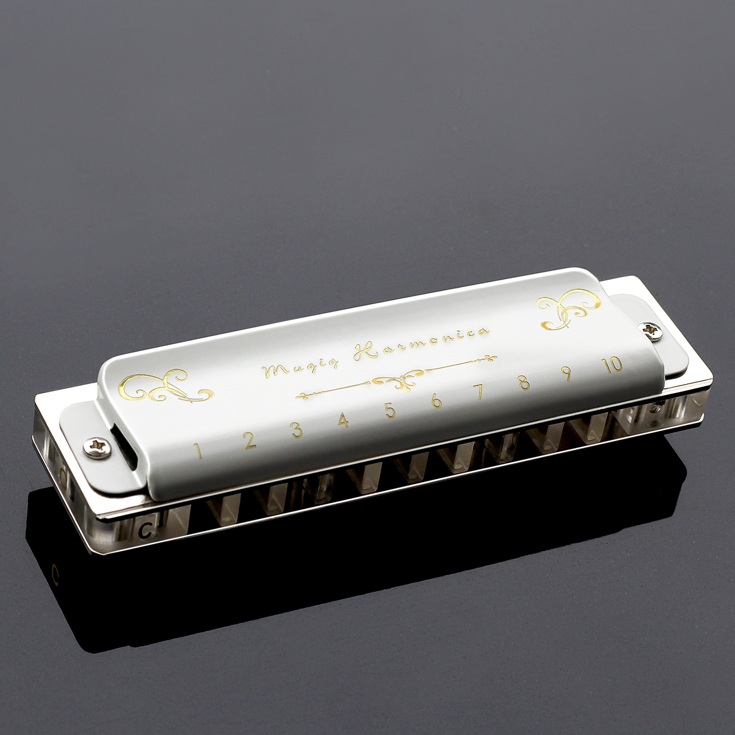 Mugig Harmonica 10 Hole Professional Blues Harmonica White, Key of C, 20 Tones