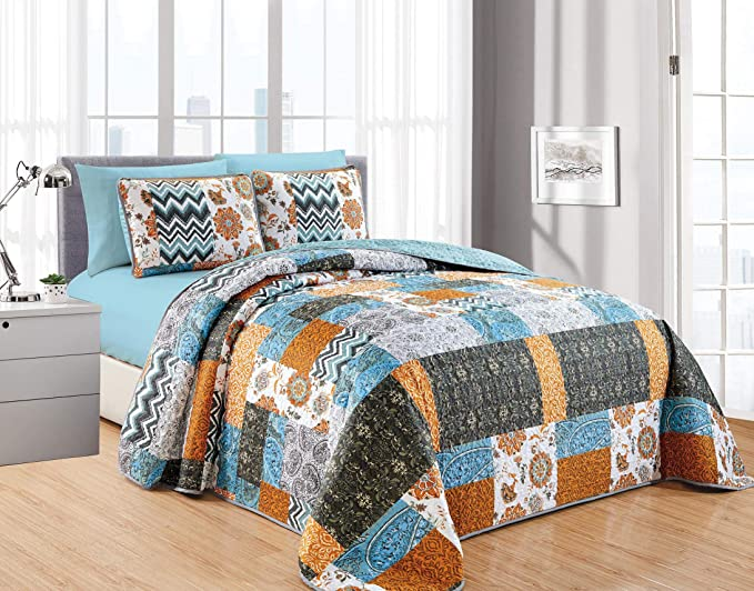 1 Fitted Sheet /& 2 Pillowcases California Drapes 6PC Printed Stripe Oversize Quilt Full//Queen 2 Pillow Shams Set Includes 1 Quilt NO Flat Sheet