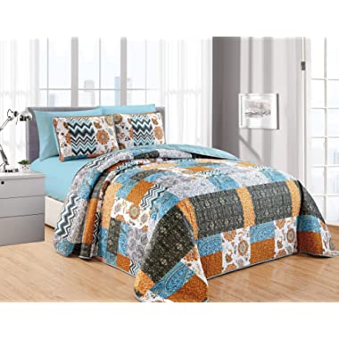 California Drapes 6PC Printed Patchwork Oversize Quilt, Set Includes 1 Quilt, 2 Pillow Shams, 1 Fitted Sheet & 2 Pillowcases, NO Flat Sheet (Full/Queen)