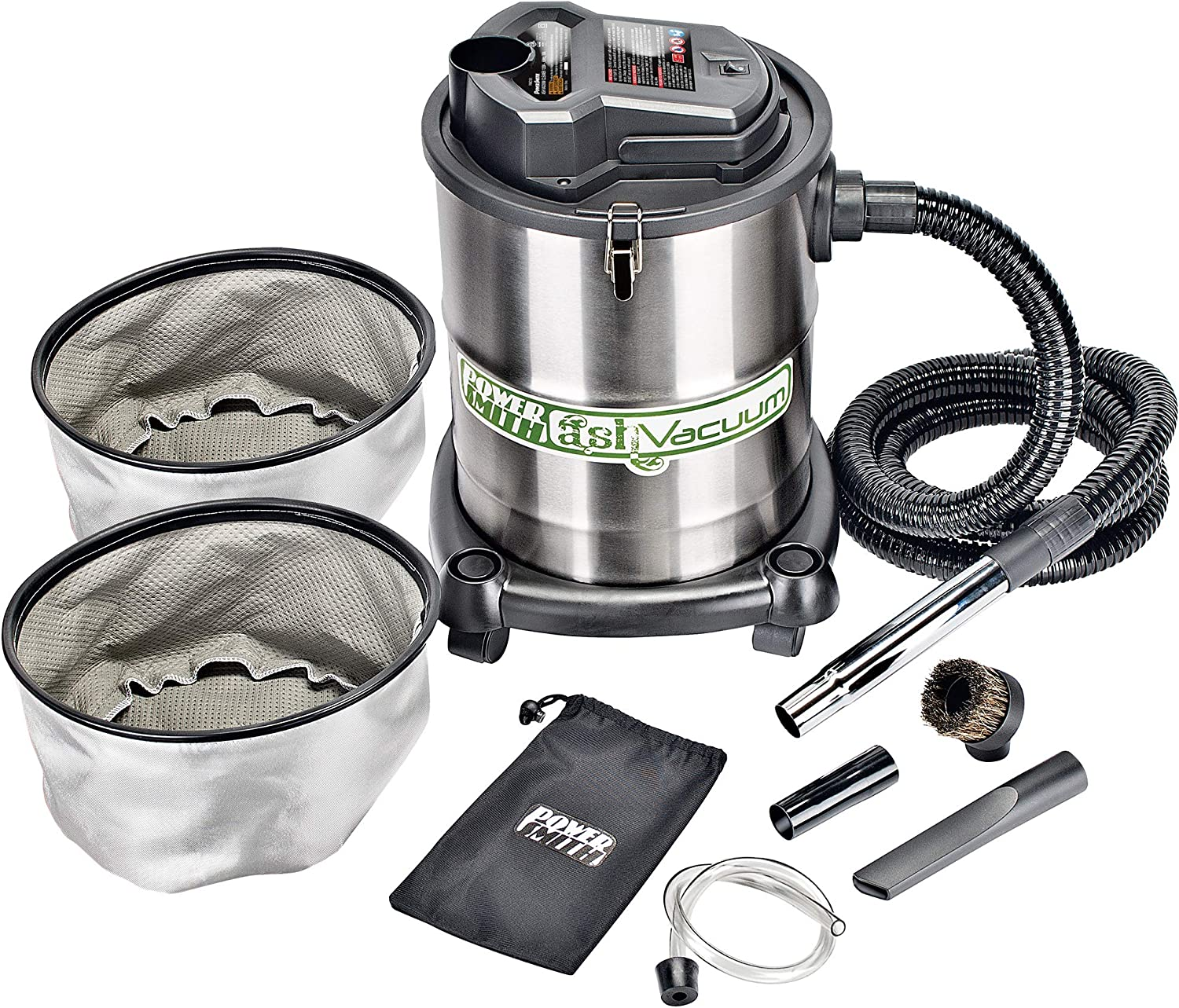 PowerSmith PAVC102 10 Amp 4 Gallon All-In-One Ash and Shop Vacuum/Blower with 10' Hose, Wheeled Base, Crevice Tool, Brush Nozzle, Pellet Stove Hose, 16' Power Cord, 1 1/4