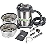 """PowerSmith PAVC102 10 Amp 4 Gallon All-In-One Ash and Shop Vacuum/Blower with 10' Hose, Wheeled Base, Crevice Tool, Brush Nozzle, Pellet Stove Hose, 16' Power Cord, 1 1/4"""" Adapter, and 2 Filters"""