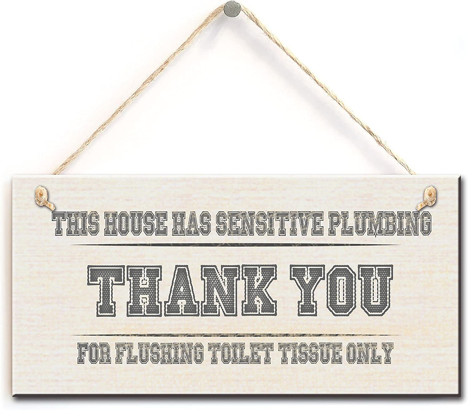 """zhongfei Funny Toilet Sign- The House Has Sensitive Plumbing Thank You for Flushing Toilet Tissue Only, Functional Interior Bathroom Sign W.C Sign(5"""" X 10"""")"""