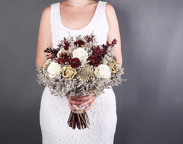Amazoncom Bridal Bouquet Ivory Brown Burgundy Gold Pine Cone Sola