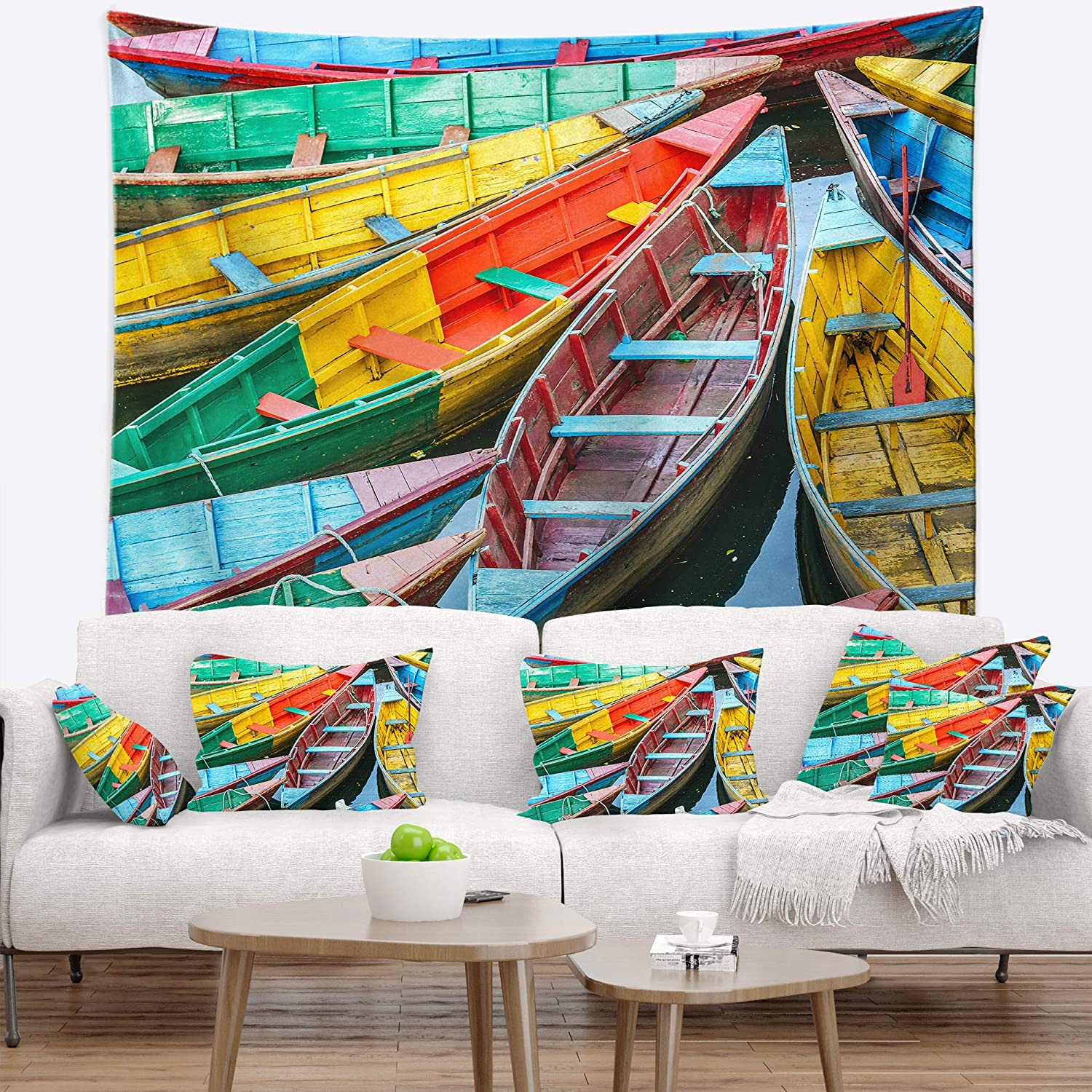 39 in Created On Lightweight Polyester Fabric x 32 in Designart TAP15697-39-32  Row of Blue Pokhara Lake Boat Blanket D/écor Art for Home and Office Wall Tapestry Medium