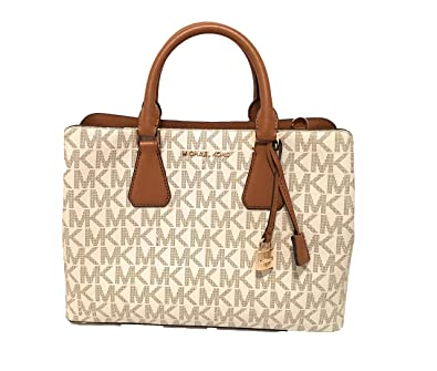 a767c0044c12 free shipping michael kors camille savannah large satchel vanilla mk acorn  crossbody bag 9eaee b9beb