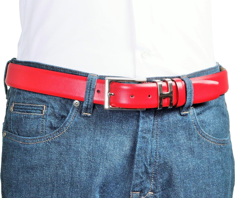 d1351c16e04ea1 Gürtel-Schnalle nickelfrei ideal als Jeans-Gürtel Leder-Gürtel für Herren  in rot: 100% Kalbsleder ...
