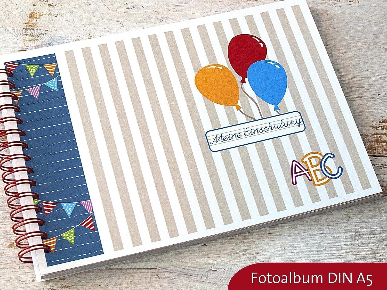 Fotoalbum Erinnerungsbuch DIN A5 für Einschulung Schulanfang