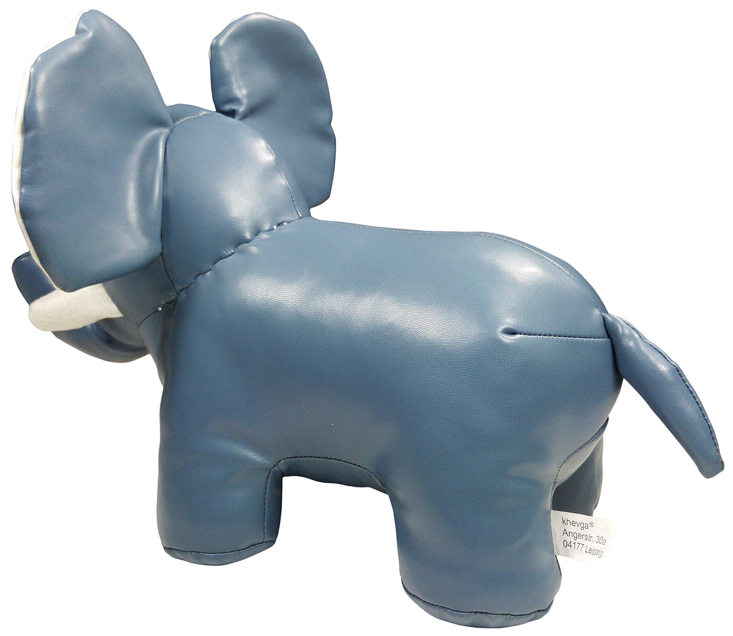 khevga Leather Optic Elephant Gray White Animal Door Stopper by khevga (Image #3)