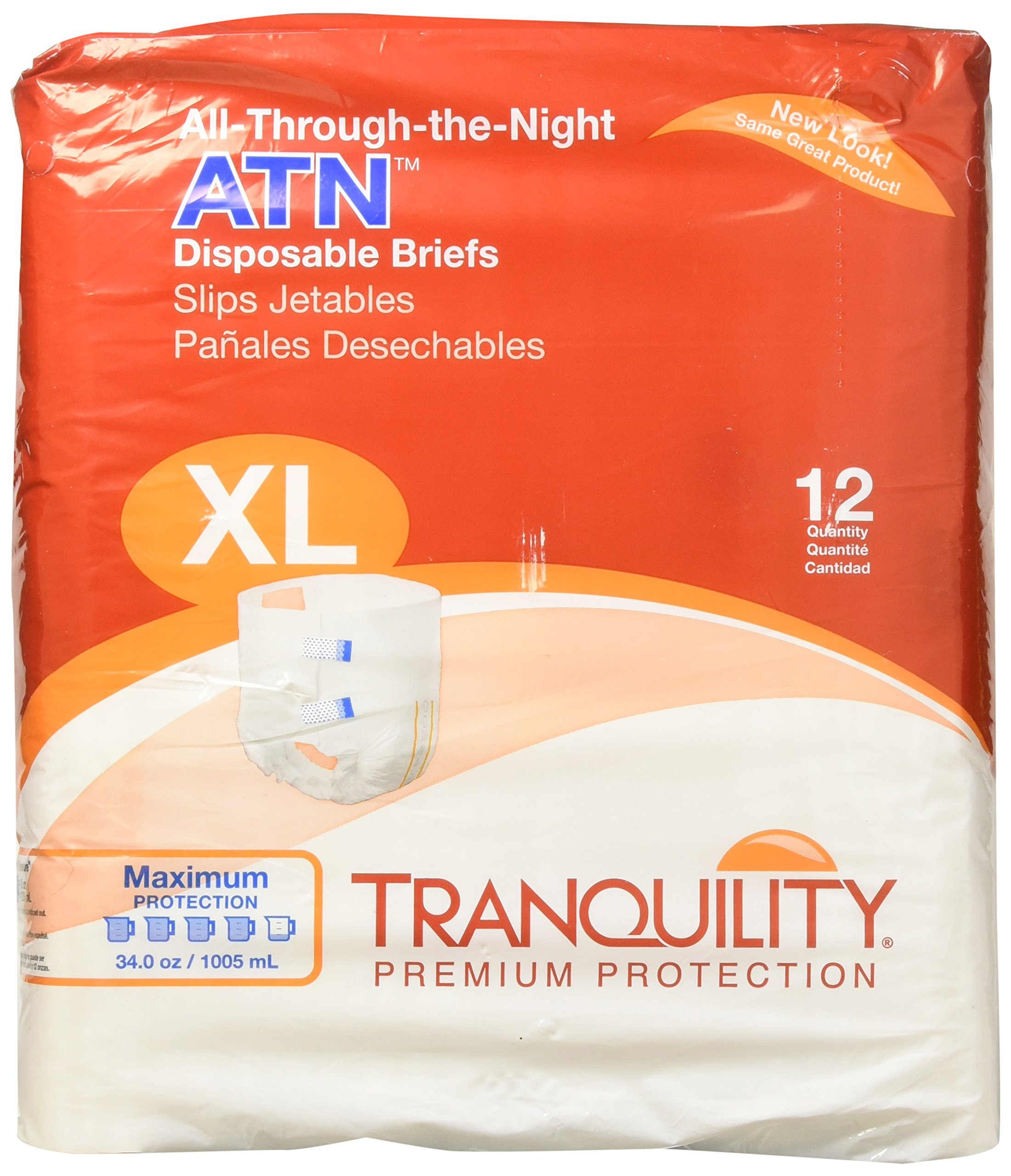 Tranquility ATN (All-Through-the-Night) Adult Disposable Briefs - XL