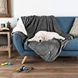 PETMAKER Waterproof Pet Blanket – 60inX50in Soft Plush Throw Protects Couch, Chair, Car, Bed from Spills, Stains Or Fur-Machine Washable (Gray)