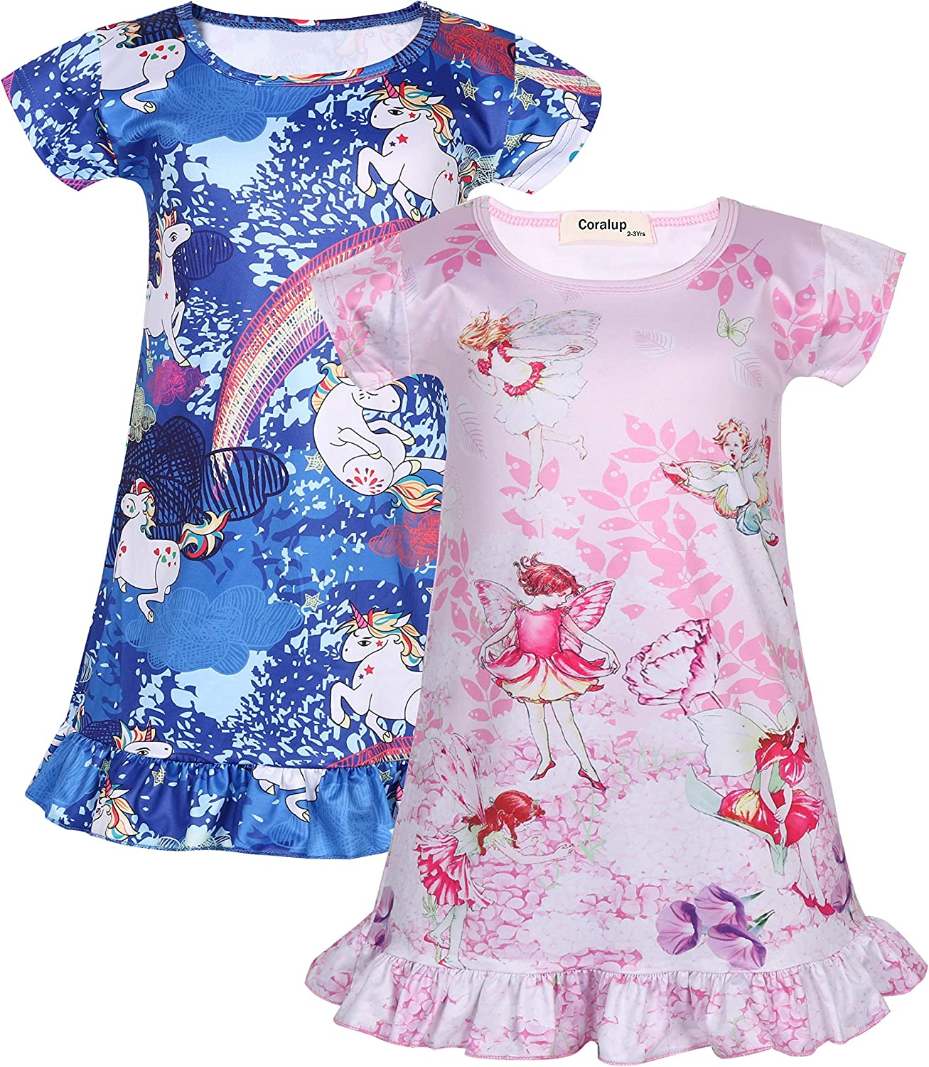 Coralup Little Girls 2-Pack Nightgowns Mermaid//Unicorn//Fairy Casual Dress