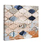 Contemporary Blue and Tan Moroccan Print Wall Art