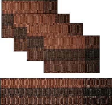 Set de 4 caminos de mesa Famibay y manteles individuales de vinilo, lavable, antideslizante para mesa de cocina, plástico, Marrón-01, Set of 4+Table runner 135cm: Amazon.es: Hogar