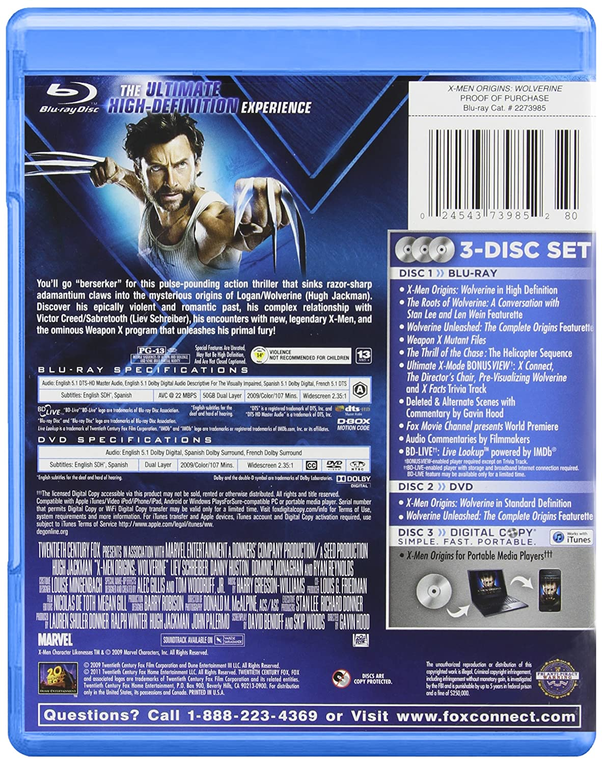 X-Men Origins: Wolverine [USA] [Blu-ray]: Amazon.es: X-Men Origins:Wolverine: Cine y Series TV