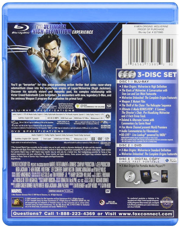 X-Men Origins: Wolverine [USA] [Blu-ray]: Amazon.es: X-Men Origins:Wolverine: Cine y Series TV