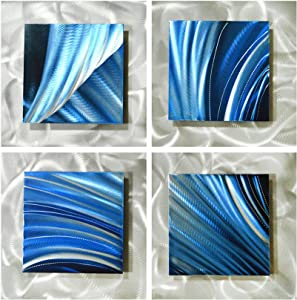 "Pure Art Movement in Squares - Modern Metal Wall Art Decor - Hanging Sculpture of 25"" x 25"" - Blue Silver Abstract Artwork of 4 Panels Perfect for Livingroom"