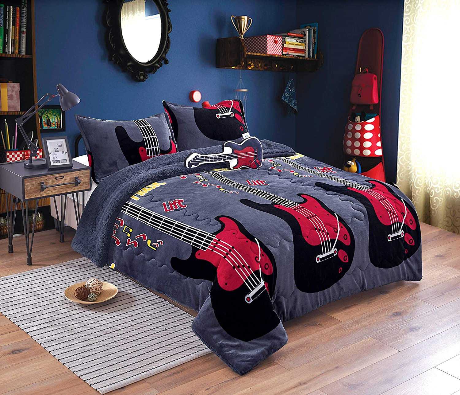 Electric guitar 3D Print Sherpa Blanket Sofa Couch Quilt Cover Bedding Blanket