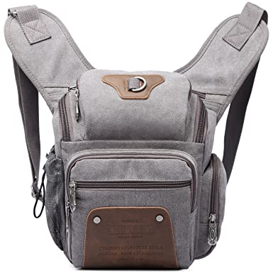 f43b0c3e40 KAUKKO Retro Canvas Sling School Bag Classic Single Shoulder Cross Body Bag  Messenger Bags Grey