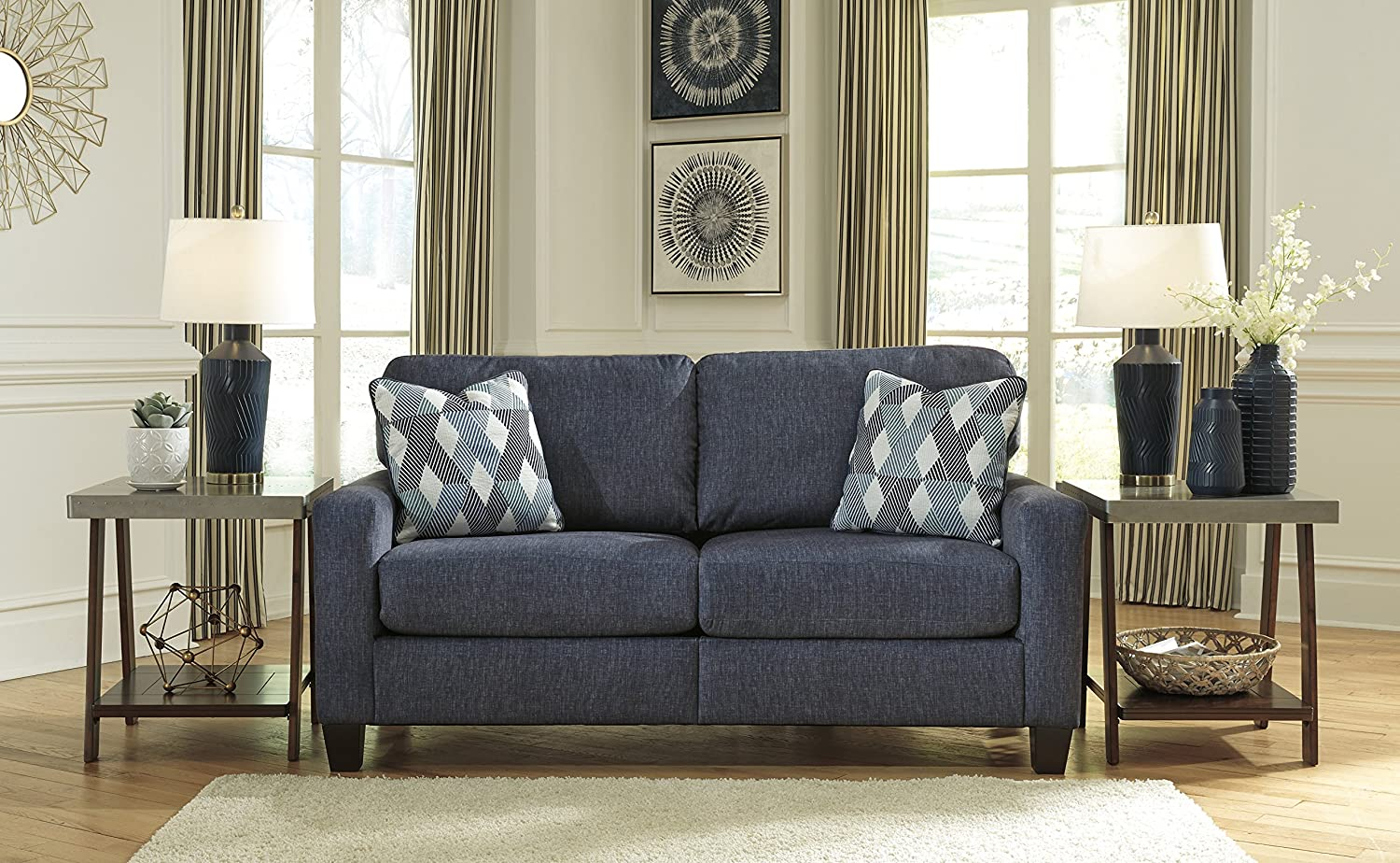 Ashley Furniture Signature Design - Burgos Contemporary Sofa - RTA Sofa in a Box - Modular Assembly - Navy