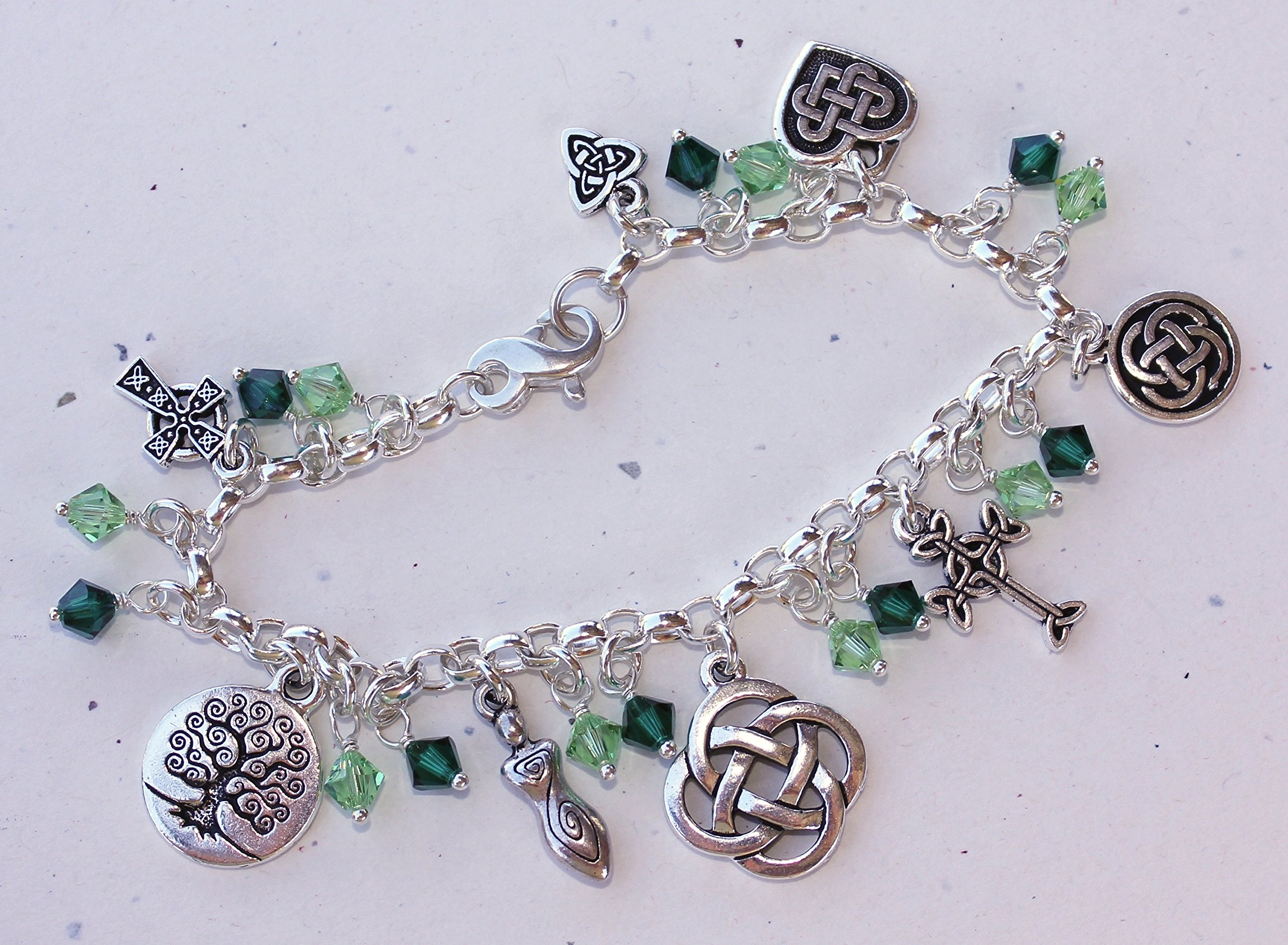 Silver Plated Deluxe Celtic Knots Charm Bracelet, Heavy Sterling Silver Chain, Green Crystals- Size XL (8.5 Inches (Extra Large)) by Night Owl Jewelry (Image #7)