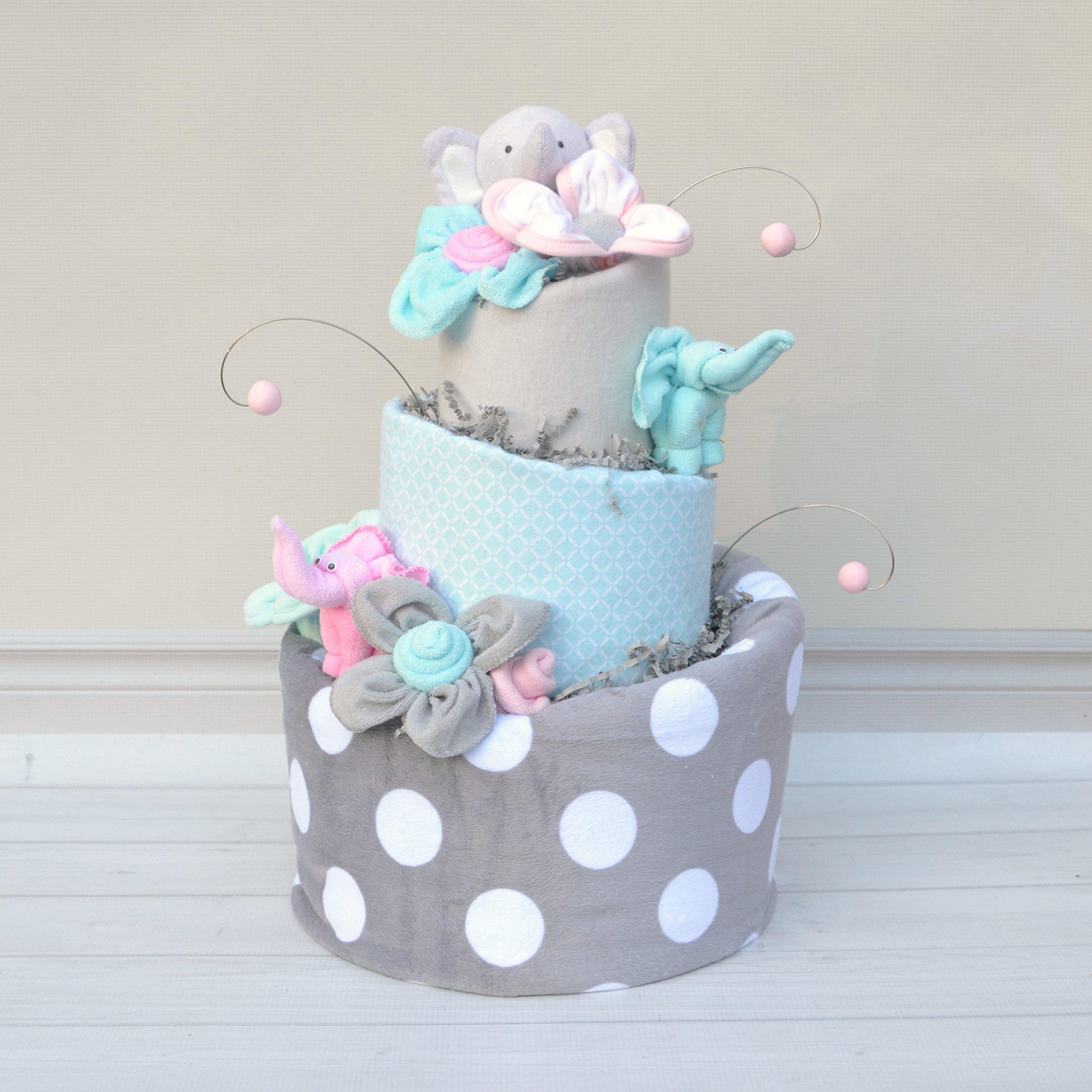 Elephant Baby Shower Girl Diaper Cake