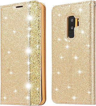 Ostop Paillettes Coque pour Samsung Galaxy S9 Plus,Or Étui Portefeuille Cuir Diamant Bling avec Fente Carte Fermeture Magnétique,Housse Livre à Rabat ...