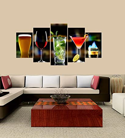 7e51f773 Premium Quality Canvas Printed Wall Art Poster 5 Pieces/5 Pannel Wall Decor  best drinks