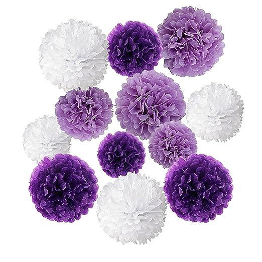 Wartoon Papel Pom Poms Flores Tissue para Decoración de Boda, Fiesta Cumpleaños, Bienvenida al Bebé, 12 Piezas (Púrpura, Púrpura Clara y Blanco)