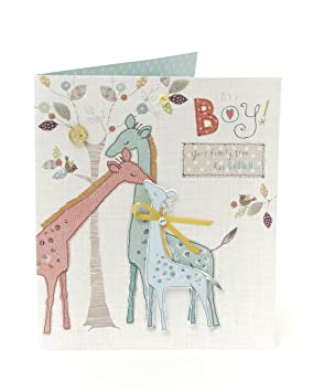 Tarjeta de felicitación para recién nacido - ¡Es un niño!: Amazon.es ...