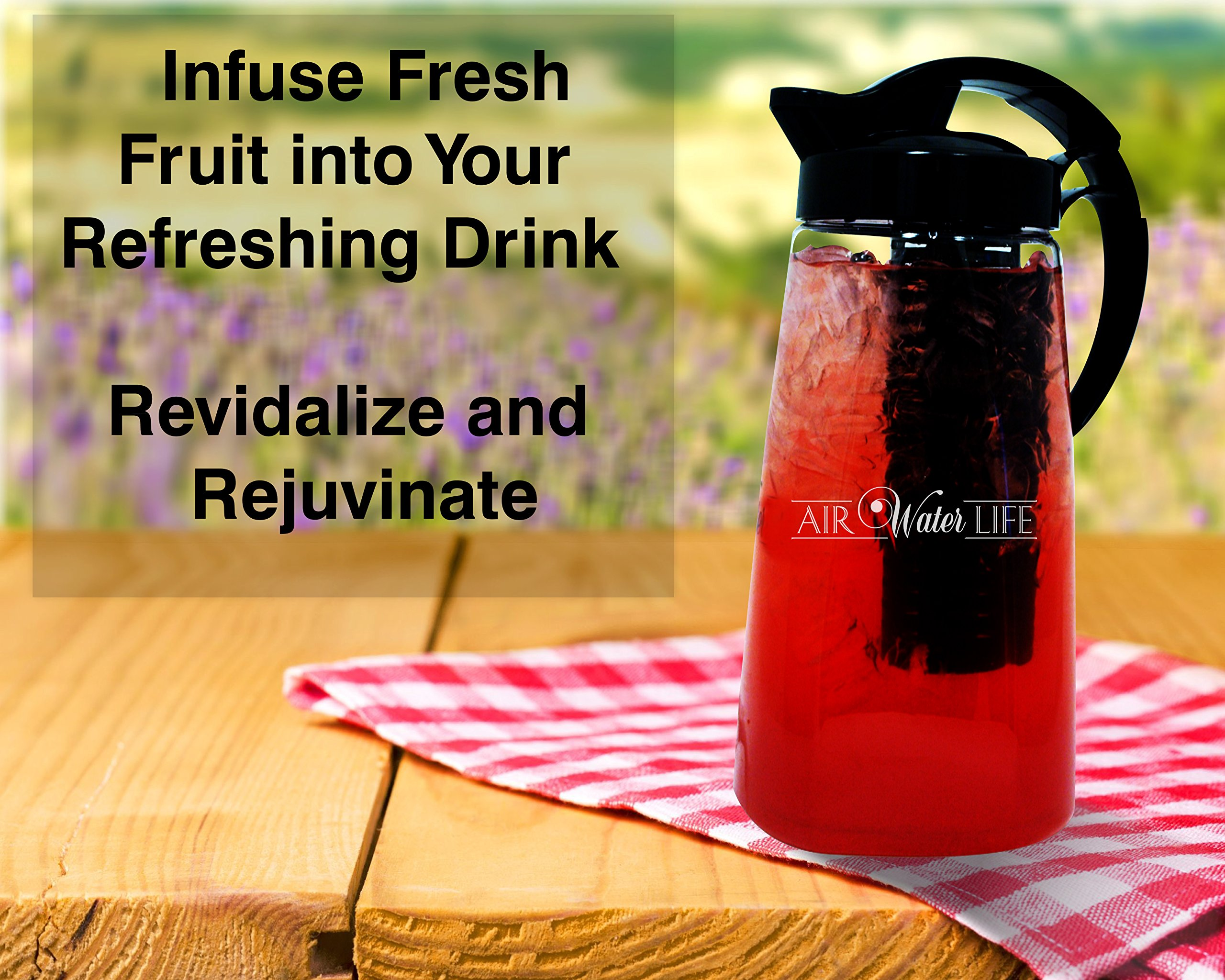 Air Water Life Fruit &Tea Infusion Pitcher | Infuse Fruit, Herbs, Spices And Tea, Make Perfect Detoxing & Healthy Beverages, Dish Washer Safe, Odor & Stain Free, Best Gift for Health-Conscious People