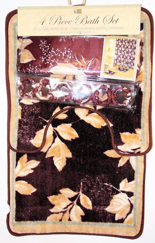 Contour Mat Brown Leaf Leaves Design 4 Pc Bath Mat Set Shower Curtain /& 12 Fabric Covered Shower Hooks