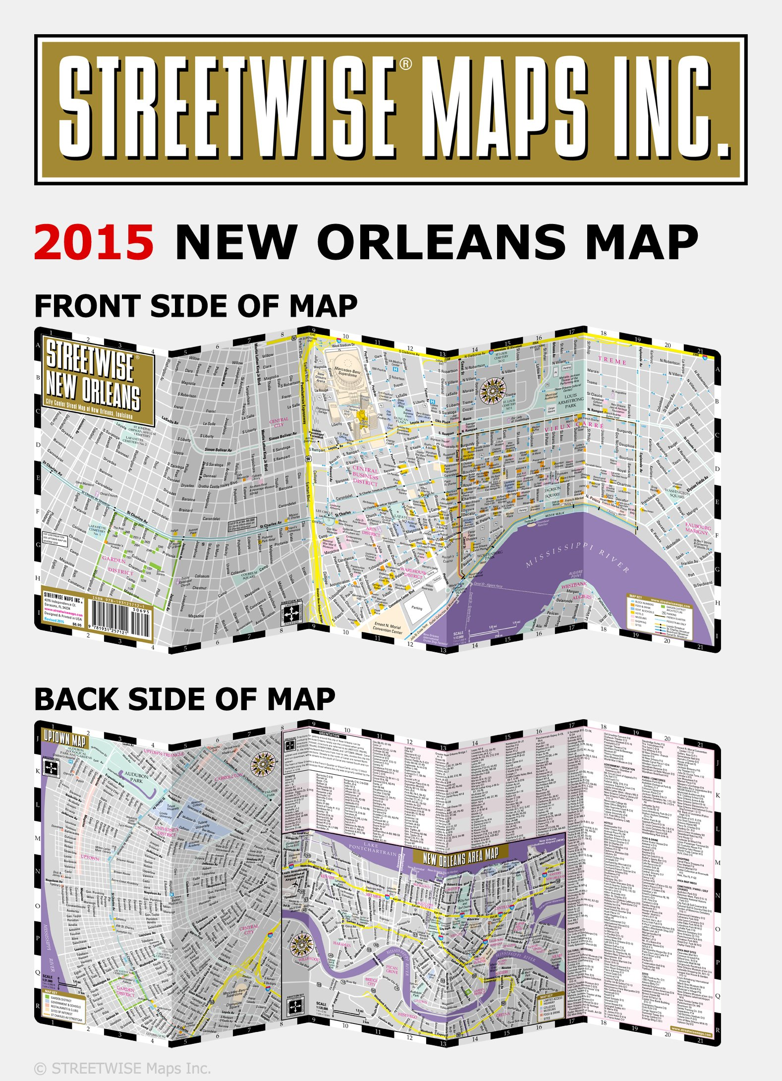 Streetwise New Orleans Map Laminated City Center Street Map Of - Map of new orleans area