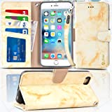 """Arae Wallet case for iPhone 6s Plus/iPhone 6 Plus [Kickstand Feature] PU Leather with ID&Credit Card Pockets for iPhone 6 Plus / 6S Plus 5.5"""" (not for 6/6s) (Marble Yellow)"""
