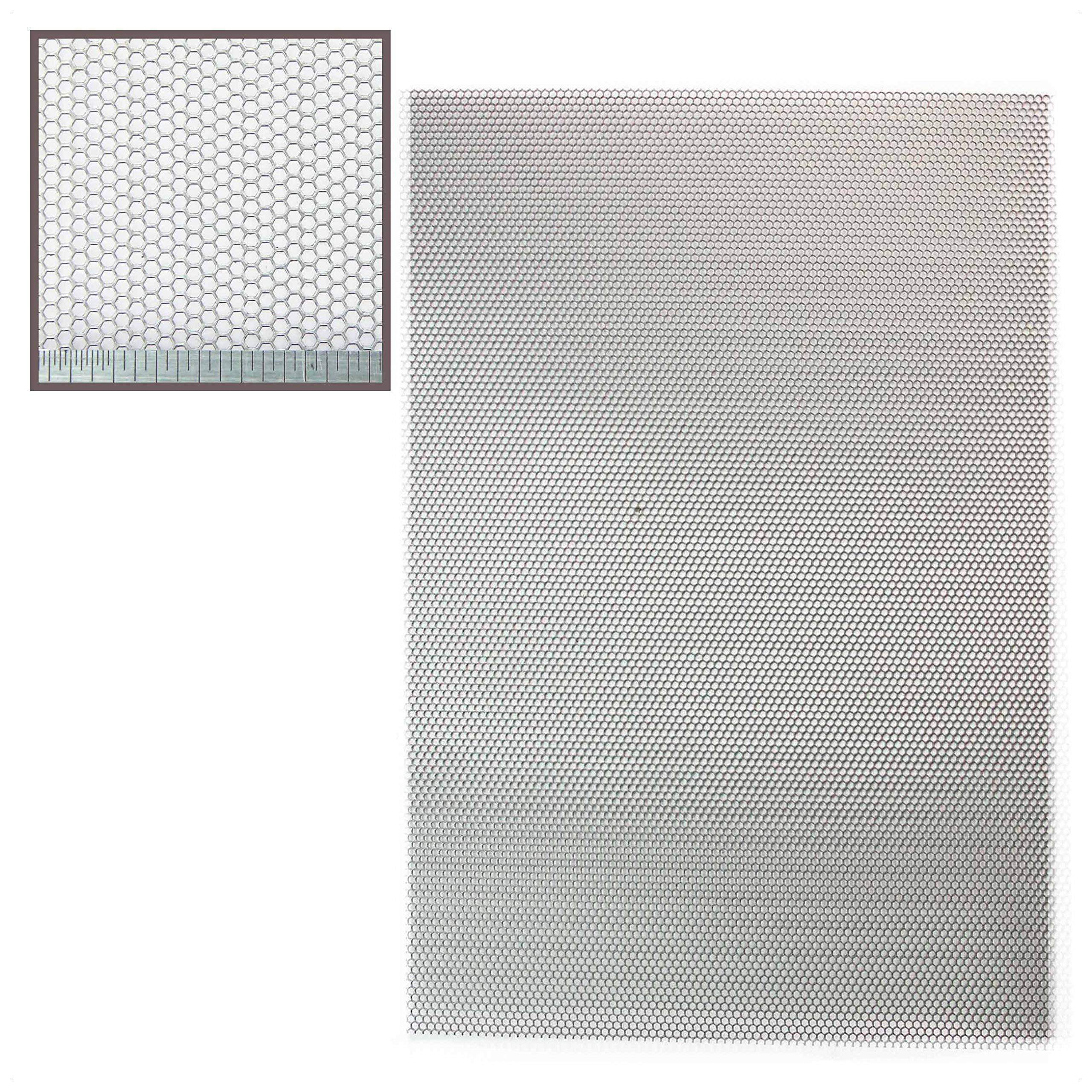 Sheet 3mm Hole x 5mm Pitch x 1mm Thick 3mm Aluminium Perforated Mesh - A3 300 x 420mm