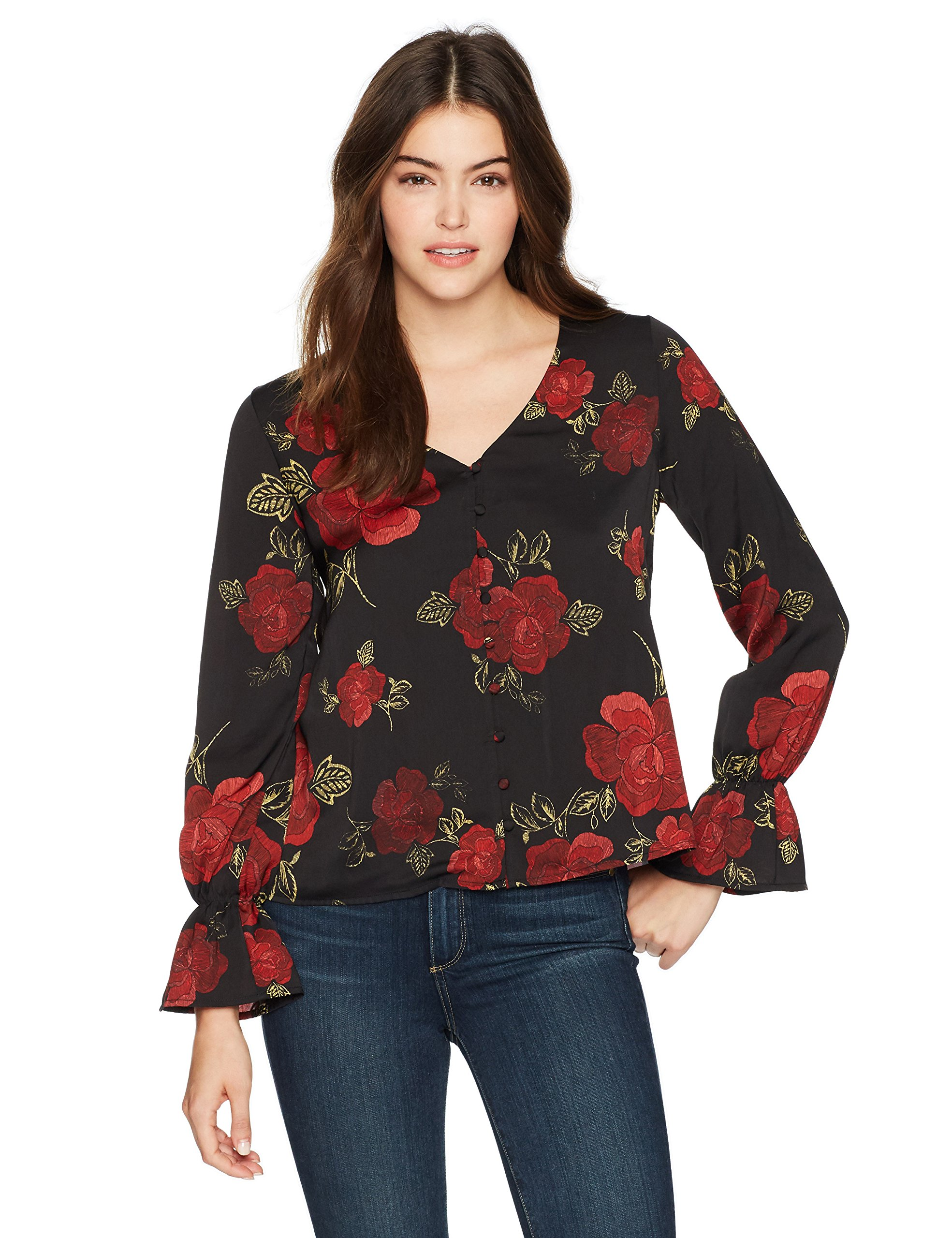 cupcakes and cashmere Women's Isadore Printed Top with Bell Sleeves, Black, X-Small