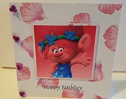 Tarjeta de cumpleaños hecha a mano inspirada en Trolls ...