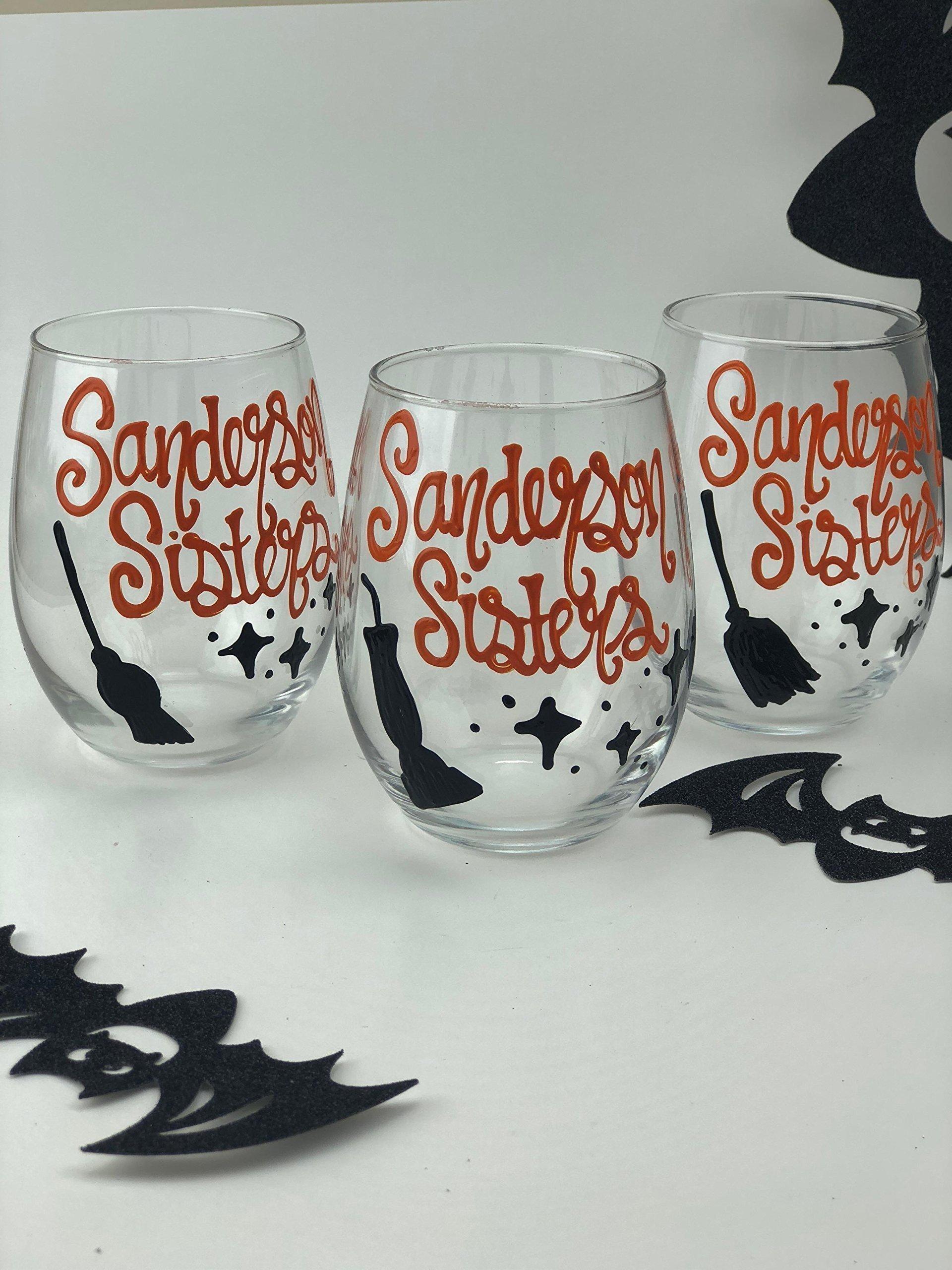 Set of 3 - Hand Painted''Sanderson Sisters'' Halloween stemless wine glasses- Hocus Pocus Calssic Halloween Movie Gift