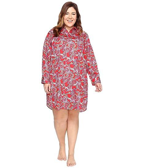 328c0b4d60d  ラルフローレン  LAUREN Ralph Lauren レディース Plus Size Sateen Sleepshirt ナイトガウン Red  Paisley