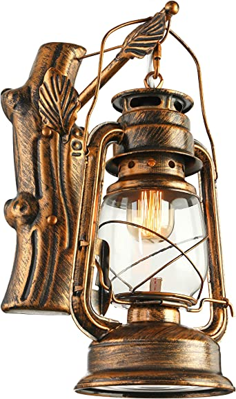 Nautical Style Wall Sconce Light Glass Shade Lamp Rustic Hallway Wall Fixture